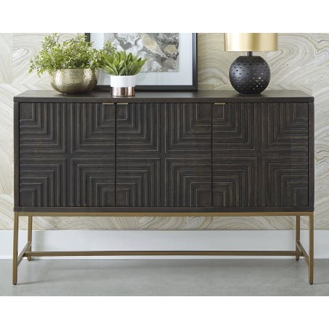 """Elinmore Brown/Gold Accent Cabinet - 58""""W x 16""""D x 37""""H"""
