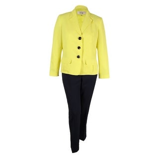 Le Suit Women's Colorblocked Three-Button Jacket Pantsuit (Daffodil/Navy, 16)