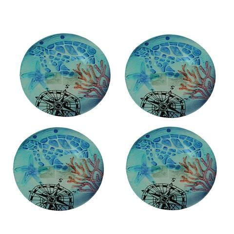 Set of 4 Coastal Blue Sea Turtle Round Art Glass Salad Plates - 0.68 X 8 X 8 inches