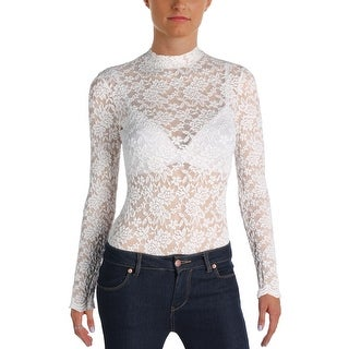 Aqua Womens Bodysuit Lace Long Sleeves