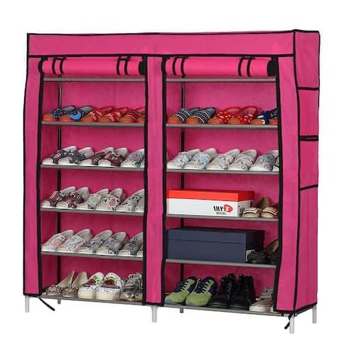 6 Layers 12 Lattices Dual Rows Non-woven Fabric Shoe Rack