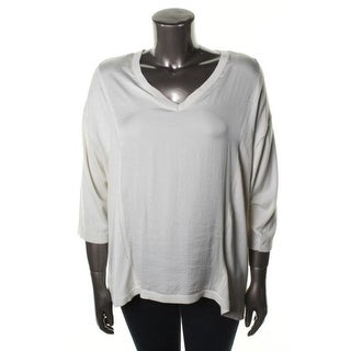 Calvin Klein Womens Plus Wool Blend Chiffon Front Pullover Sweater - 0X