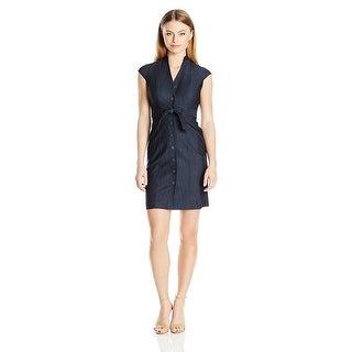 Calvin Klein Petite Denim Belted Shirt Dress - 0p