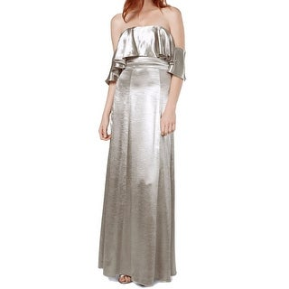 Fame and Partners Silver Women 2 (AU 6) Shiny Ruffle Sheath Dress