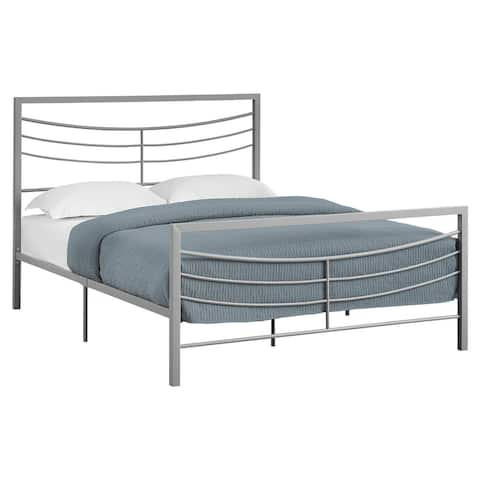 Offex Queen Size Contemporary Bed - Silver Metal Frame Only