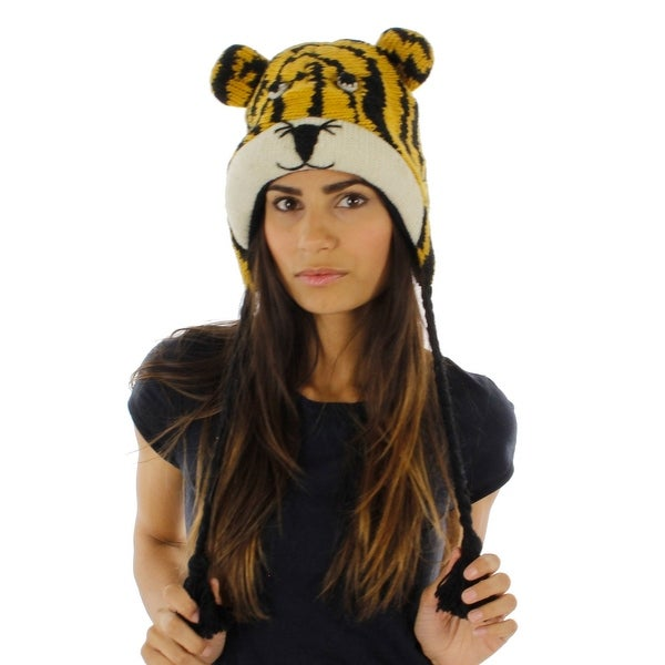 Little Tiger Wool Knit Animal Hat with Fleece Lining
