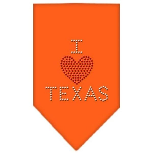 Mirage Pet Products I Heart Texas Rhinestone Bandana Orange Small