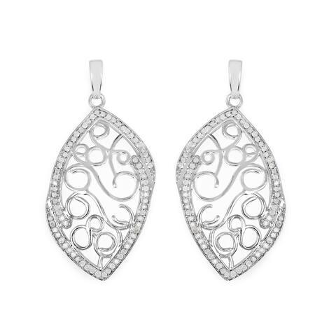 0.71 Carat Genuine White Diamond .925 Sterling Silver Earrings