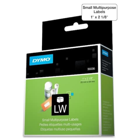 Dymo 30336 1in x 2-1/8in labels. 500 labels/roll, 1 roll/box - White