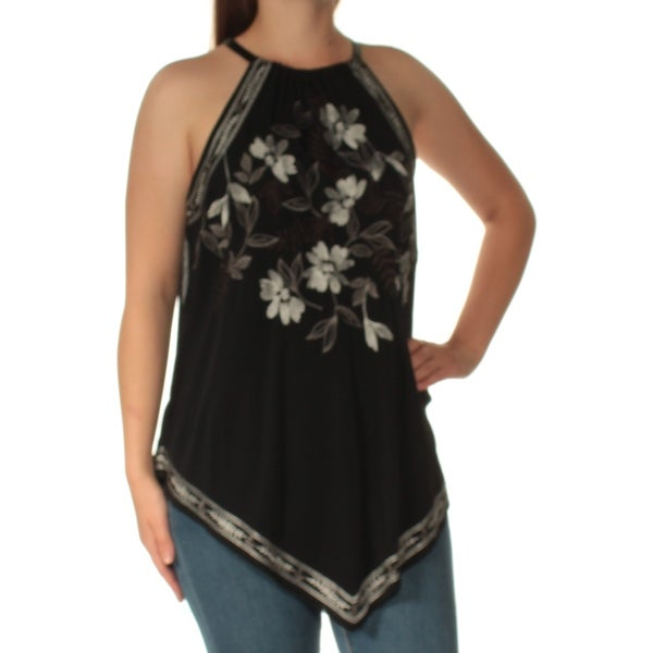 5404505808815 Shop ALFANI Womens Black Embroidered Sleeveless Crew Neck Top Size  M -  Free Shipping On Orders Over  45 - Overstock.com - 24057746