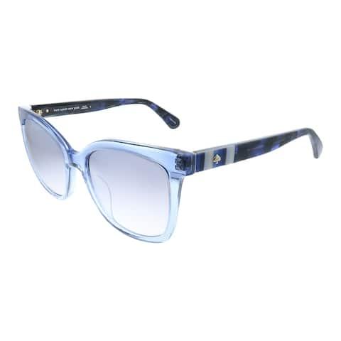 Kate Spade KS Kiya PJP Womens Crystal Blue Frame Silver Mirror Lens Sunglasses