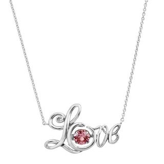 5/8 ct Created Pink Sapphire 'Love' Script Floater Necklace in Sterling Silver