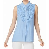 NY Collection Blue Women's Size XL Lace Front Button Up Blouse
