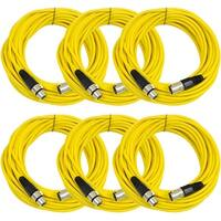 SEISMIC AUDIO (6 PACK) Yellow 50' XLR Microphone Cables