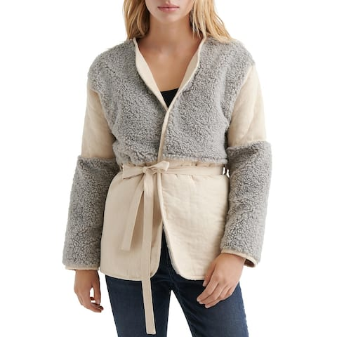 Lucky Brand Womens Mixed Sherpa Wrap Jacket Large Grey