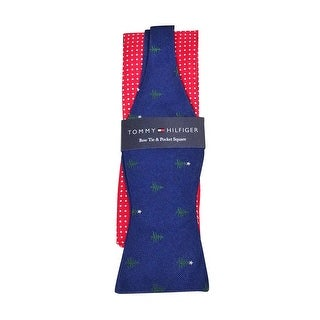 Tommy Hilfiger Men's Tree Pin Dot Bow-Tie Pocket Square Set (OS, Red/Navy) - os