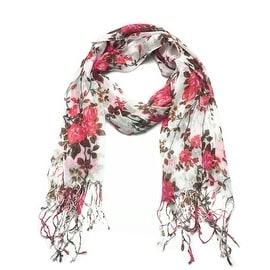 Women's Fashion Floral Soft Wraps Scarves - F1 Coral