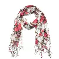 Women's Fashion Floral Soft Wraps Scarves - F1 Coral - Large