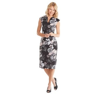 Connected Apparel Scuba-Knit Dress - Y-Neckline Floral Print Midi Sheath Dress