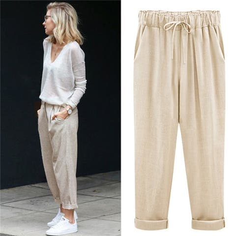 Women's Cotton And Linen Seven/Nine Pants Plus Fat Xl