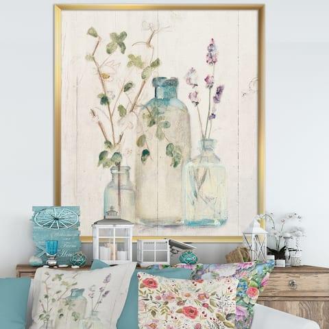 Designart 'Blossoms on Birch Cottage Bouquet IV' Farmhouse Framed Art Print