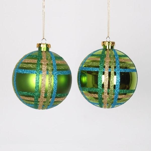 "4ct Lime Green w/ Blue, Green & Gold Glitter Plaid Shatterproof Christmas Ball Ornaments 4"" (100mm)"
