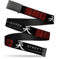 Blank Black  Buckle Street Fighter Assassin's Fist Japanese Characters Web Belt