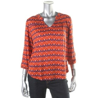 Lucky Brand Womens Printed Slub Pullover Top - L