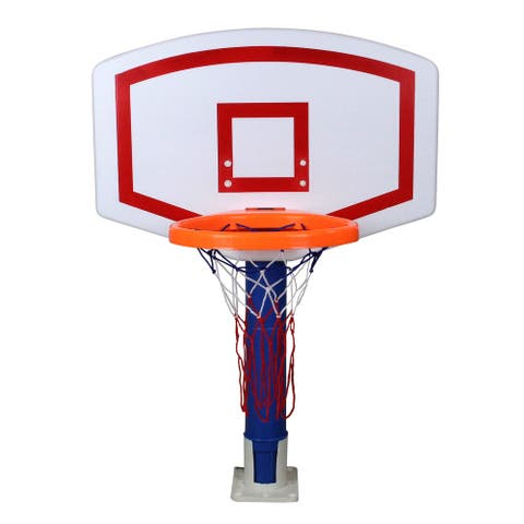 """24"""" White and Blue Water Sports Jammin Basketball Poolside Above-Ground Swimming Pool Game"""