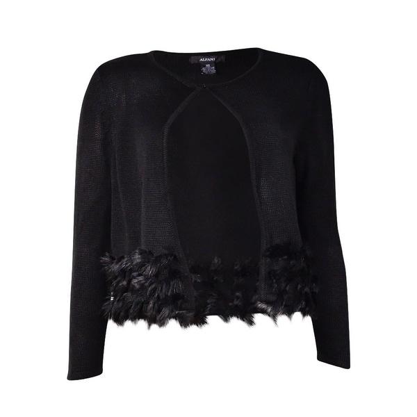 Alfani Women's Cropped Faux Fur Trim Cardigan Sweater