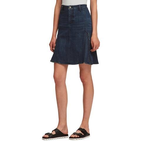 DKNY Womens Denim Skirt Denim Fringe - 26