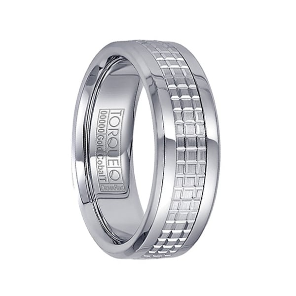 Checkered 14k White Gold Inlaid White Cobalt Men's Polished Wedding Band by Crown Ring - 7.5mm
