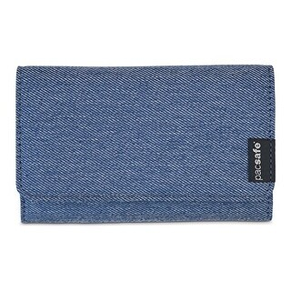 Pacsafe RFIDsafe LX100 - Denim RFID Blocking Wallet w/ Snap Button Closure