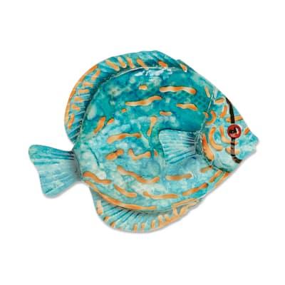 Handmade Blue Discus Fish Wall Decor (Philippines) - 1 x 8 x 7