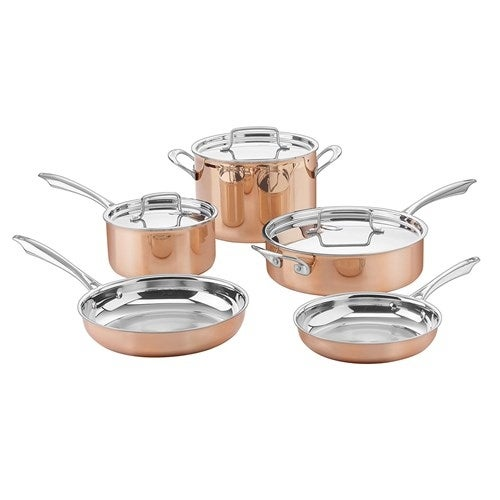 """Cuisinart 8Pc Set Copper Tri-Ply SS Tri-Ply Cookware"""