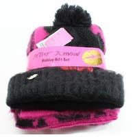 Betsey Johnson NEW Black Sequined Rose Pom Beanie and Pink Scarf Set
