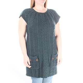 STYLE & COMPANY New Womens 1042 Green Jewel Neck Tunic Sweater L B+B