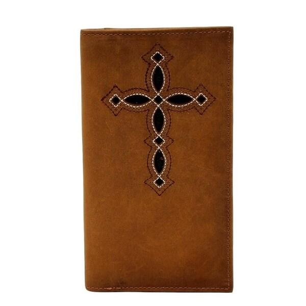Ariat Western Wallet Mens Rodeo Cross Stain Edge Medium Brown