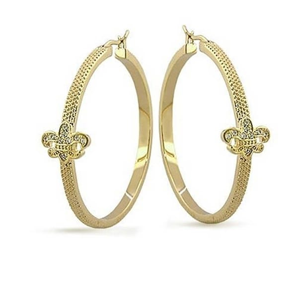 Shop Fleur De Lis Flat Tube Hoop Earrings Large Pave Cubic Zirconia Accent  Textured 14K Gold Plated Brass 1.75 Inch Dia - On Sale - Free Shipping On  Orders ... cdbe529008b8