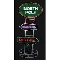 "37"" LED Lighted Christmas Outdoor North Pole Sign Silhouette Decoration with Tape Lights"