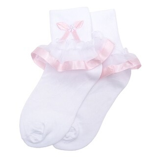 Piccolo Baby Girls White Pink Banded Trim Tie Accent Ankle Ruffle Socks