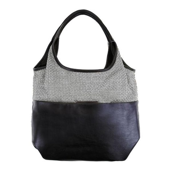 0d202c0906 Shop Bernie Mev Women s BM06 Double Handled Large Hobo Black Faux Leather  Pewter - us women s one size (size none) - Free Shipping Today -  Overstock.com - ...