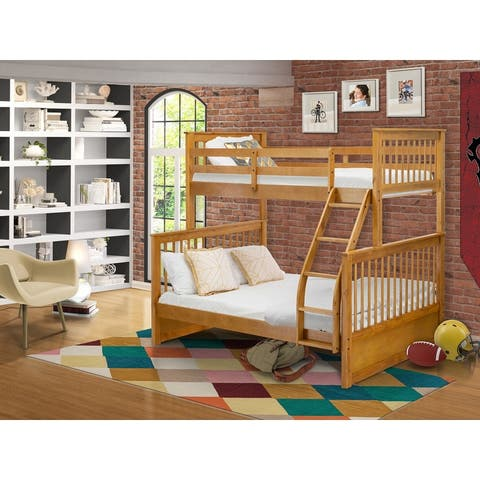 ODB-09-W Twin bunk bed- Two split beds and ladder with four steps and Guard Rails-Twin Full size bed & Natural Oak Finish