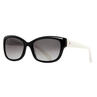 KATE SPADE Cat eye JOHANNA/S Women's 807 Y7 Black/Ivory White Gray Gradient Sunglasses - 53mm-17mm-135mm