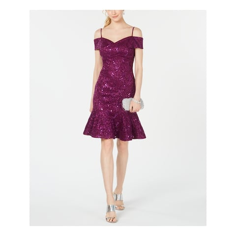 NIGHTWAY Purple Short Sleeve Above The Knee Fit + Flare Dress Size 4