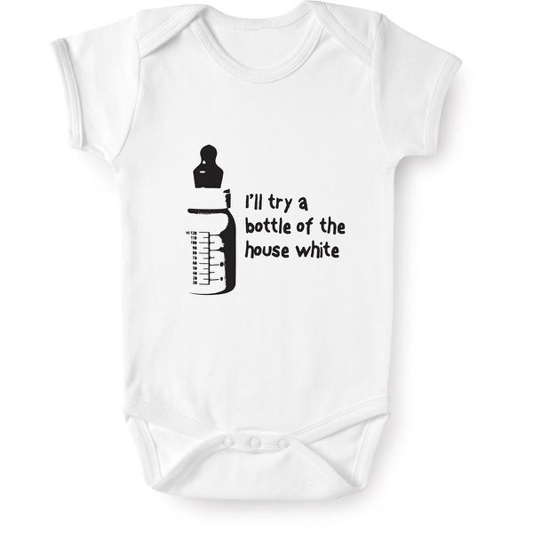 Baby's I'll Try a Bottle of the House White Cotton Creeper Snapsuit
