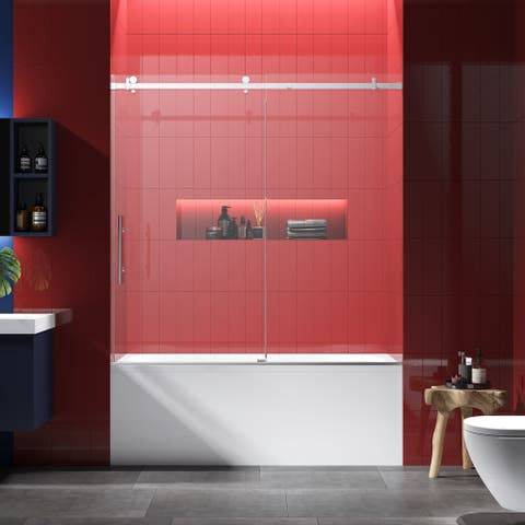 """FELYL 60"""" W x 60"""" H Single Sliding Frameless Tub Door with Heat Soaking Process and Protective Coating Clear Glass"""