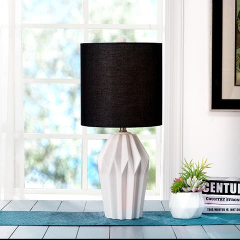 Glitzhome Matte Ceramic Table Lamp w/linen shade