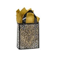 "Pack Of 25, Cub Leopard Safari Plastic Bags 3 Mil Shopping Bags 8 X 4 X 10"" For Gift Packaging"