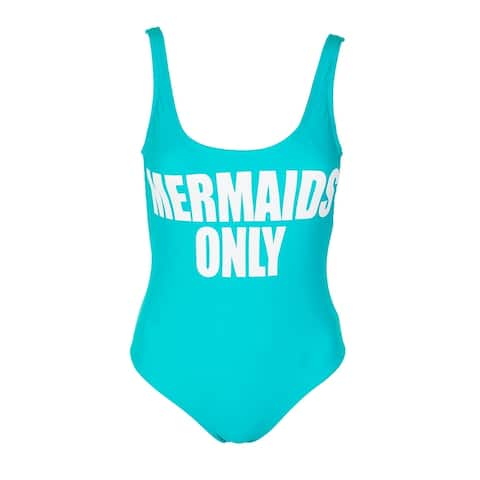 California Waves Juniors Mint Green Mermaids Only Graphic One-Piece Swimsuit XS